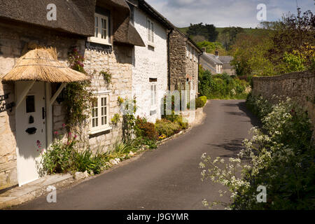 UK England, Dorset, Portesham, Church Lane, stone built thatched house with badly thatched porch  in narrow road - Stock Photo