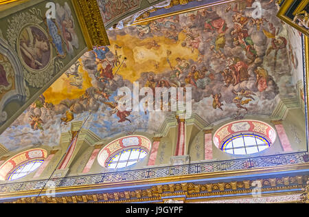 LVOV, UKRAINE - MAY 16, 2017: The sailing in St Andrew the First Called church decorated with fresco, depicting - Stock Photo