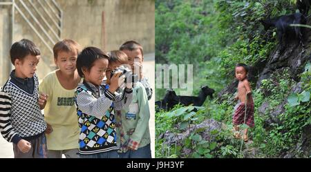 (170602) -- NANNING, June 2, 2017 (Xinhua) -- Combined photo shows Meng Weiyi, 10, trying a camera on May 17, 2017 - Stock Photo