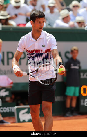 Paris, France. 1st Jun, 2017. Serbian tennis player Novak Djokovic is in action during his match in the 2nd round of the ATP French Open in Roland Garros vs Portuguese tennis player Joao Sousa on May 31, 2017 in Paris, France. Credit: Yan Lerval/AFLO/Alamy Live News Stock Photo