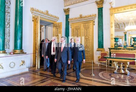 Saint Petersburg, Russia. 2nd June, 2017. German Minister of Foreign Affairs Sigmar Gabriel (3rd r, SPD) and the - Stock Photo