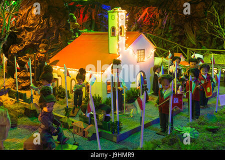 A scene of island life on Madeira; part of a much larger elaborate nativity display at Curral das Freiras, Madeira - Stock Photo