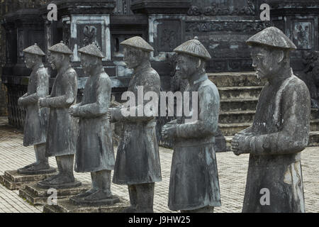 Stone Mandarin Honor Guards at Tomb of Khai Dinh, Hue, North Central Coast, Vietnam - Stock Photo