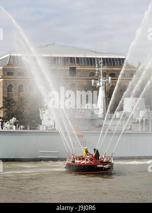 Bristol, England - July 17, 2016: The 1930s fireboat Pyronaut during a display in its home harbour of Bristol. - Stock Photo