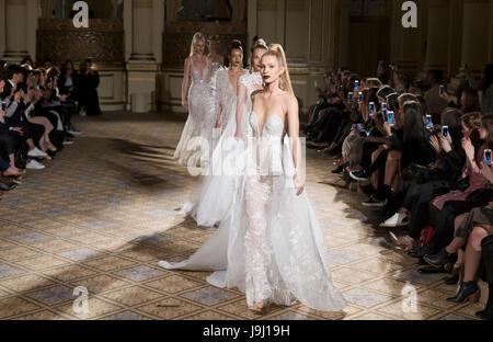 NEW YORK, NY - April 21, 2017: Models walk the runway at the Berta Bridal Spring 2018 Collection Runway Show during - Stock Photo