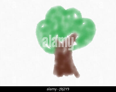 illustration of hand drawn water color tree - Stock Photo