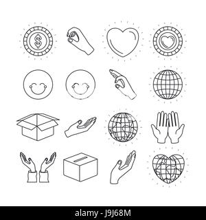 silhouette icons set earth world and charity symbols - Stock Photo