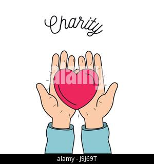 color image hands holding in palms a heart charity symbol - Stock Photo