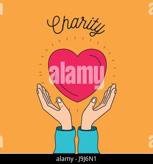 color image background hands with floating heart charity symbol - Stock Photo