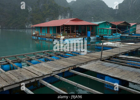 Pearl farm and limestone karsts, Ha Long Bay (UNESCO World Heritage Site ), Quang Ninh Province, Vietnam - Stock Photo