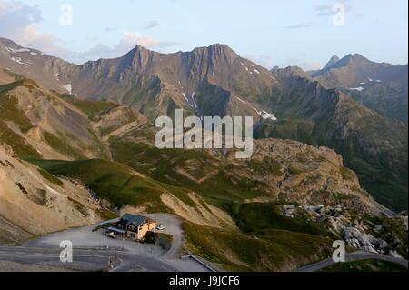 France, Hautes-Alpes, Col du Lautaret, mountain road, - Stock Photo