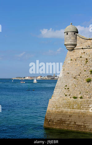 France, Morbihan, Port Louis Citadel modified by Vauban, at Lorient harbour entrance - Stock Photo