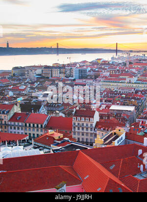 Lisbon Old Town view in the beautiful sunset. Portugal - Stock Photo