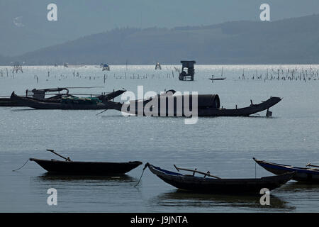 Fishing boats on Dam Lap An, by Lang Co, Thua Thien-Hue Province, North Central Coast, Vietnam - Stock Photo