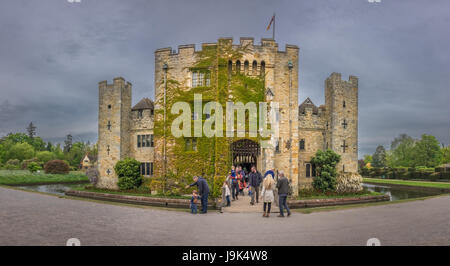 Hever Castle, England -  April 2017 : Tourists in front of the Hever Castle  located in the village of Hever, Kent, - Stock Photo