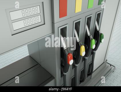 station, fuel, gas, nozzle, nozzles, petrol, pumps, pump, detail, closeup, - Stock Photo