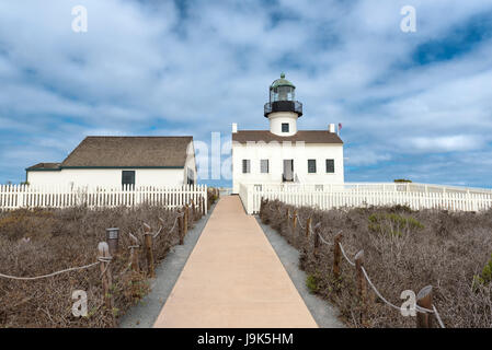 Old Point Loma lighthouse in San Diego, California. - Stock Photo
