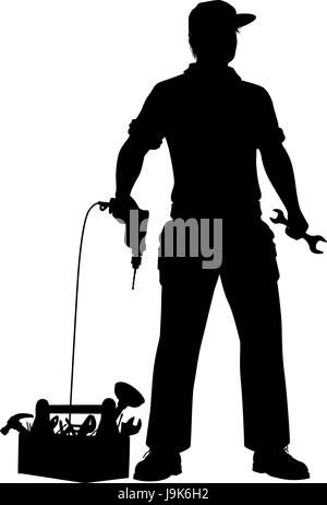 Editable vector silhouette of a repairman and his tools ready to work - Stock Photo