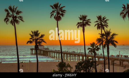 Sunset at Palm trees on Manhattan Beach. Fashion travel and tropical beach concept. - Stock Photo