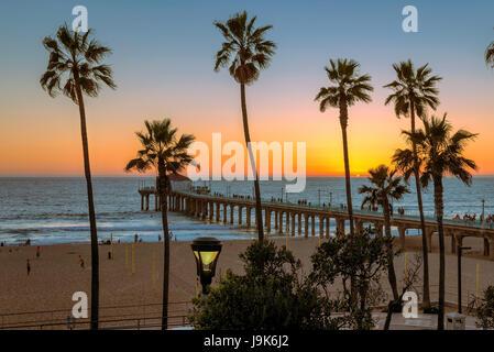 Manhattan Beach at sunset, Los Angeles. California. - Stock Photo