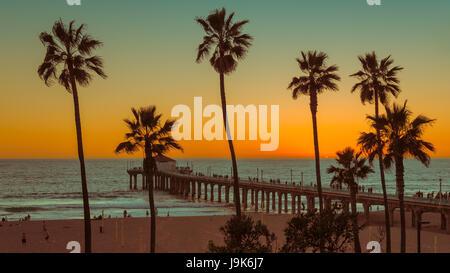 Palm trees on Manhattan Beach at sunset, Los Angeles. California. - Stock Photo