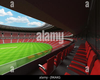 3D render of a beautiful modern round cricket stadium with red seats and VIP boxes for hundred thousand people - Stock Photo