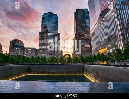9/11 Memorial, The National September 11 Memorial & Museum at sunset, New York - Stock Photo