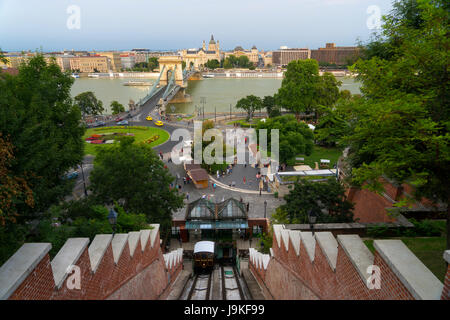 Castle Hill Funicular in Budapest Hungary - Stock Photo