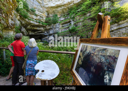 France, Doubs, Ouhans, source of the Loue, point of view oh the painter Courbet - Stock Photo