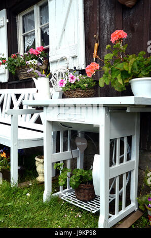 garden shed shabby chic stock photo