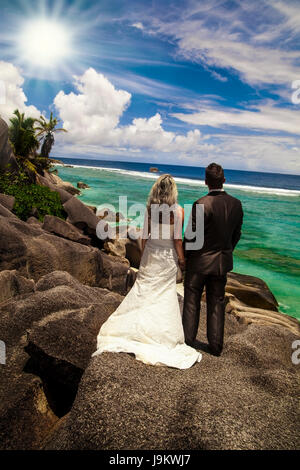 romantic, tropical, married, love, in love, fell in love, couple, pair, salt - Stock Photo