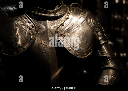 Suit of armour in the Tower of London, UK - Stock Photo
