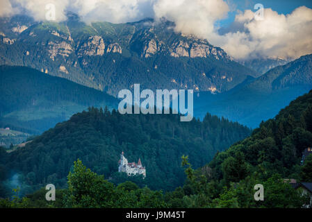 Aerial view of Bran commune in Brasov County of historical region Transylvania, Romania. Bran Castle on photo - Stock Photo