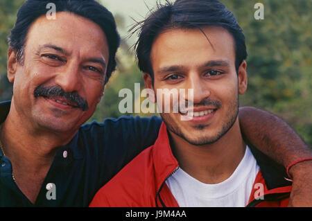 Indian bollywood actor, suresh oberoi and vivek oberoi, India - Stock Photo