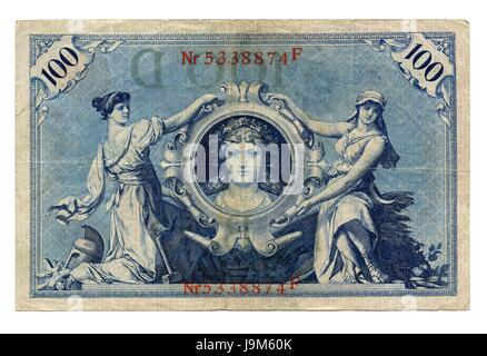 germany, german federal republic, mark, german, hundred, marks, woman, bank, - Stock Photo