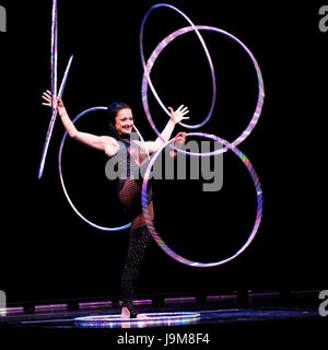 Cirque du Soleil - Delirium performance by acrobats, dancers and jugglers at the O2 Arena,London UK - 18 April 2008. - Stock Photo