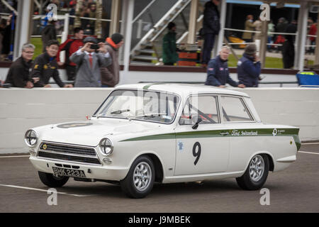 1964 Ford-Lotus Cortina Mk1 with driver Katsuaki Kubota during the Whitmore Cup race at Goodwood GRRC 74th Members - Stock Photo