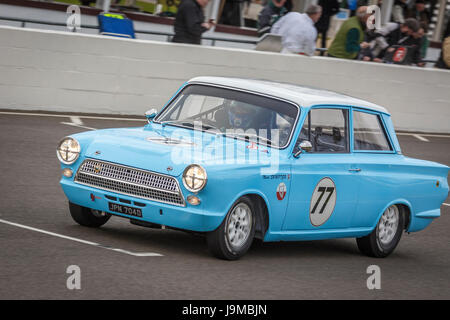 1964 Ford-Lotus Cortina Mk1 with driver Mark Sumpter during the Whitmore Cup race at Goodwood GRRC 74th Members - Stock Photo