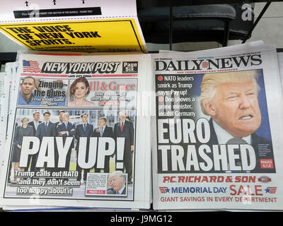 Headlines of New York tabloid newspapers on Friday, May 26, 2017 report on President Donald Trump's speech to NATO - Stock Photo