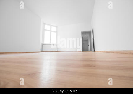New White Room With Parquet Flooring In The Sun Stock Photo