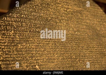 Egyptian hieroglyphs, demotic script, Ancient greek - Rosetta Stone, 196 BC, British Museum, London, England, UK - Stock Photo