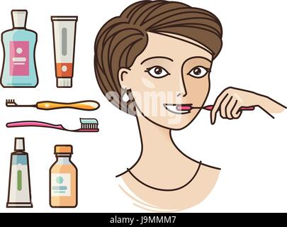 Hygiene of oral cavity. Beautiful girl brushing teeth. Toothpaste, toothbrush, mouthwash, personal hygiene icon - Stock Photo