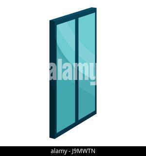 Blue glass door icon, cartoon style - Stock Photo