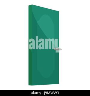 Green cabinet door icon, cartoon style - Stock Photo