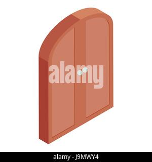 Brown double door icon, cartoon style - Stock Photo