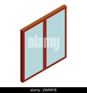 Double glass door icon, cartoon style - Stock Photo