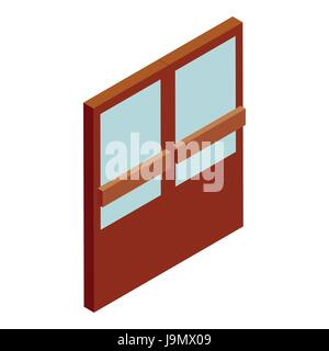 Double supermarket door icon, cartoon style - Stock Photo