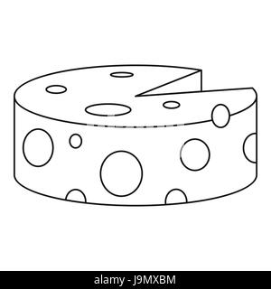 Traditional cheese wheel icon, outline style - Stock Photo