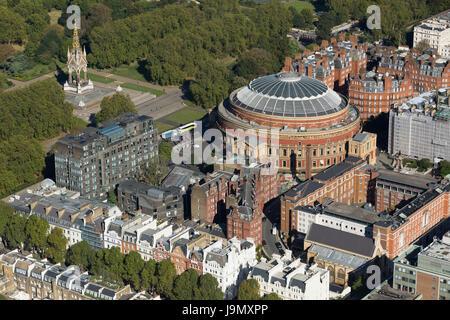Aerial view of the Royal Albert Hall and Albert memorial, Kensington Gore, Kensington Gardens, London. The concert - Stock Photo