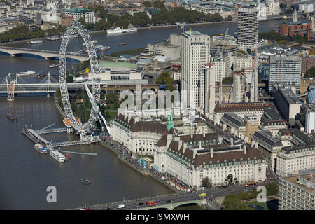 The London Eye sits on the South Bank of the River Thames. The Jubilee Gardens and County Hall Building. Lambeth, - Stock Photo